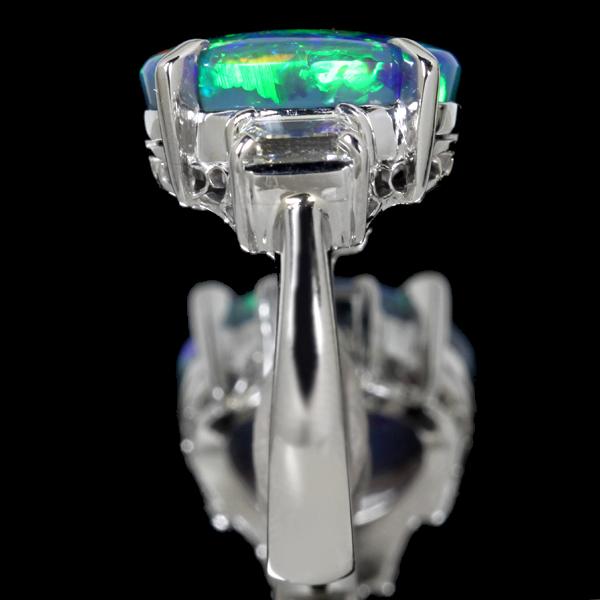 ジュエリー通販ジュエルプラネットPT900 6.5ctブラックオパールリング 0.81ctダイヤモンド