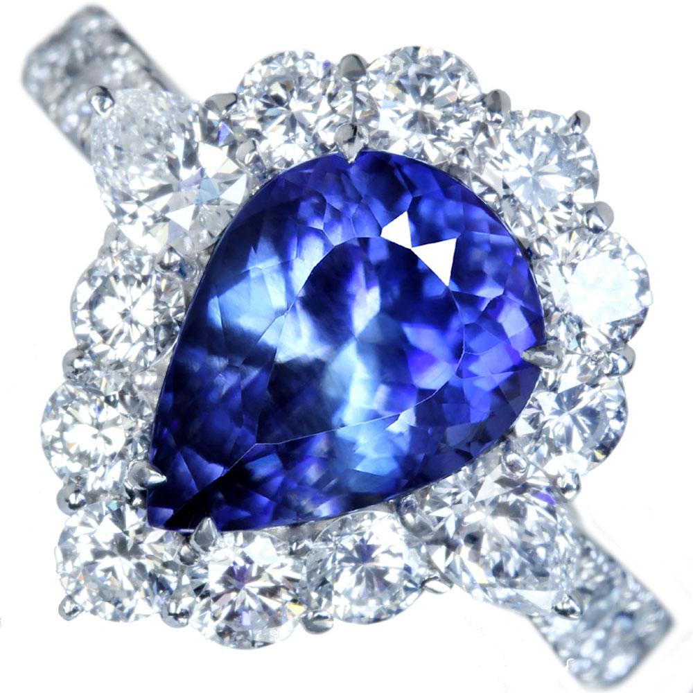 【JP PREMIUM】【ハンドメイド】PT950 3.6ct ベニトアイト リング 2.305ct ダイヤモンド