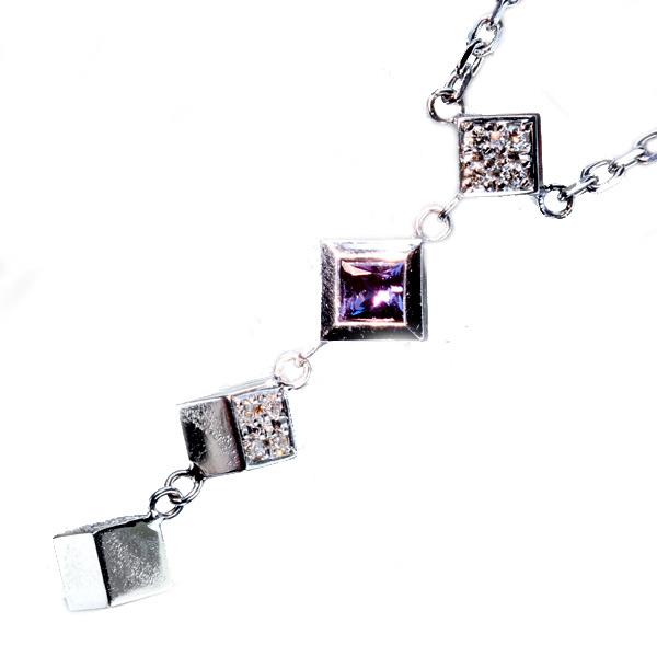 K18WG 11.68ct カルセドニー ネックレス 0.06ct ダイヤモンド