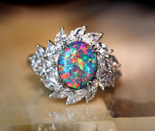 【JP PREMIUM】PT900 2.827ctブラックオパール リング 2.175ct ダイヤモンド