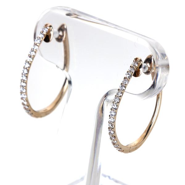 ジュエリー通販ジュエルプラネット K18PG 0.26ctダイヤモンド フープピアス