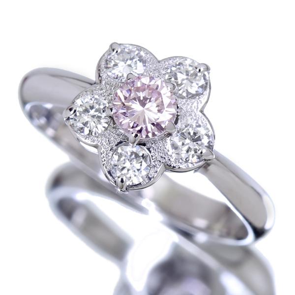 ジュエリー通販ジュエルプラネット PT900 0.314ct LIGHT PINK SI2 ピンクダイヤモンド リング 0.67ctダイヤモンド ※AGTソーティングシート付