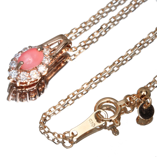 ジュエリー通販ジュエルプラネット コンクパール ネックレス 0.35ct/ダイヤモンド 0.17ct K18PG