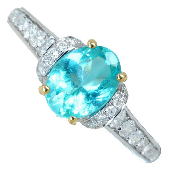 ジュエリー通販ジュエルプラネット アパタイト リング 1.05ct/ダイヤモンド 0.3ct K18WG/YG