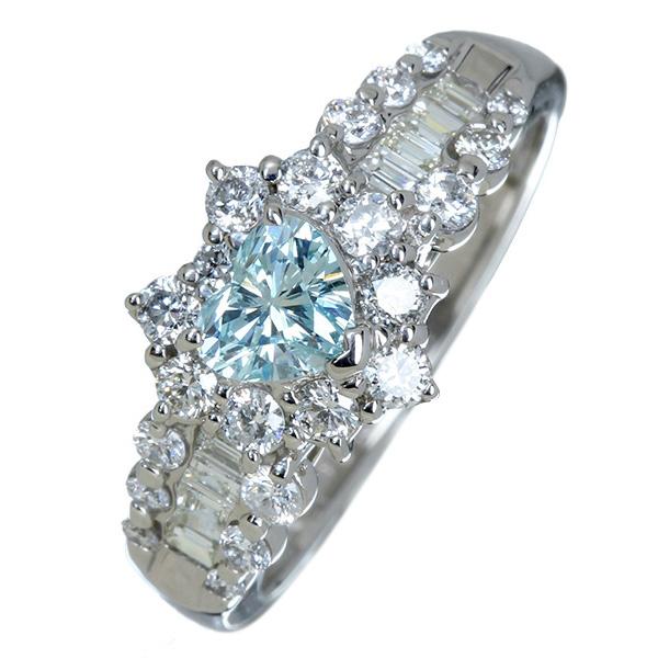 ジュエリー通販ジュエルプラネット ブルーダイヤモンド(人為的照射) リング 0.363ct/ダイヤモンド 0.6ct プラチナ900 ※中央宝石研究所ソーティングシート付