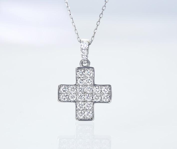ジュエリー通販ジュエルプラネット ダイヤモンド クロスモチーフ ネックレス