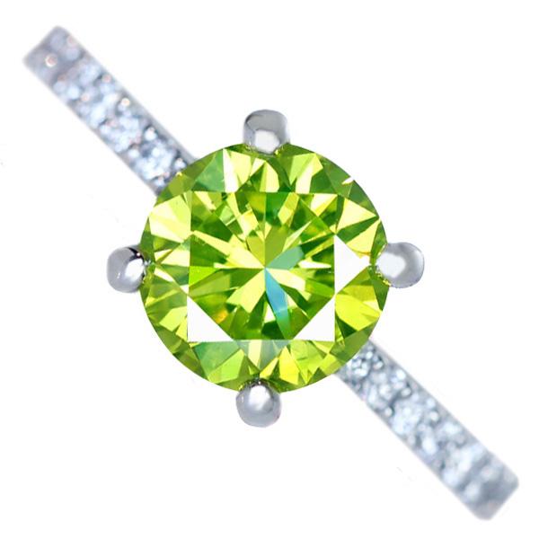 ジュエリー通販ジュエルプラネット ビビットグリーンイエローダイヤモンド リング