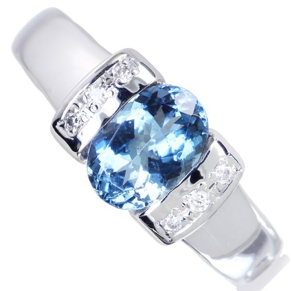 ジュエリー通販ジュエルプラネット サンタマリアアクアマリン リング 1.20ct/ダイヤモンド 0.06ct PT900