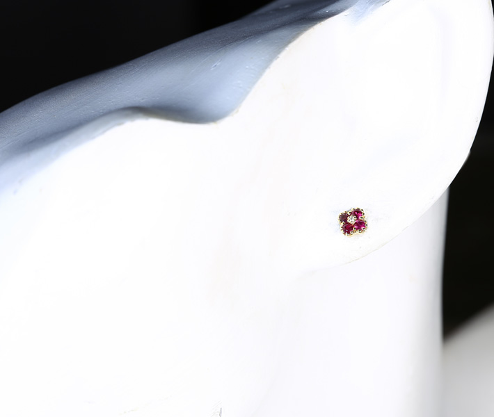 ジュエリー通販ジュエルプラネット ルビー ピアス 0.22ct/0.22ct ダイヤモンド 0.01ct K18