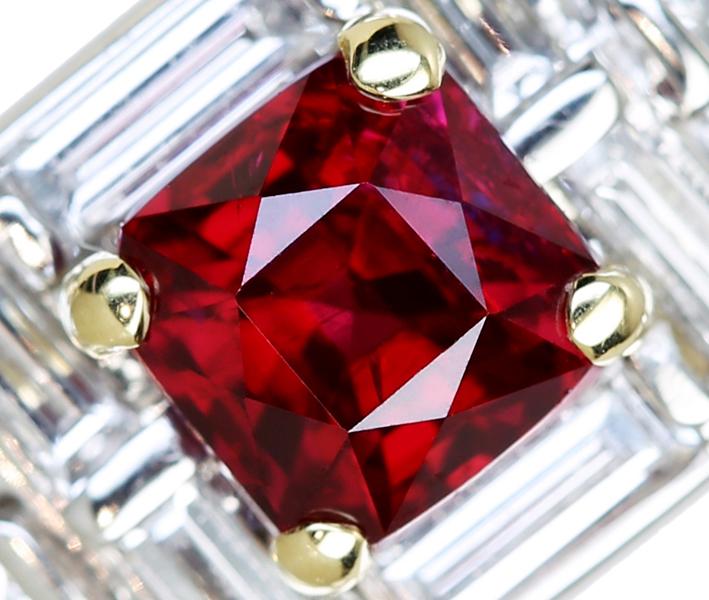 ジュエリー通販ジュエルプラネット ビルマ産非加熱ピジョンブラッドルビー リング 1.05ct/ダイヤモンド 0.695ct PT900