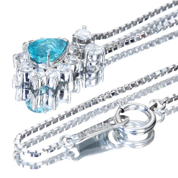 ジュエリー通販ジュエルプラネット パライバトルマリン ネックレス 0.57ct ダイヤモンド 0.48ct PT900/PT850