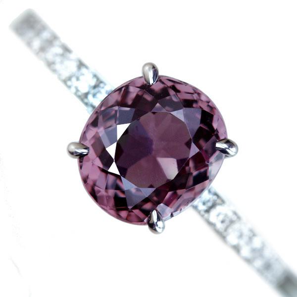 PT900 0.237ct トリートテッドパープルダイヤモンド リング 0.32ctダイヤモンド