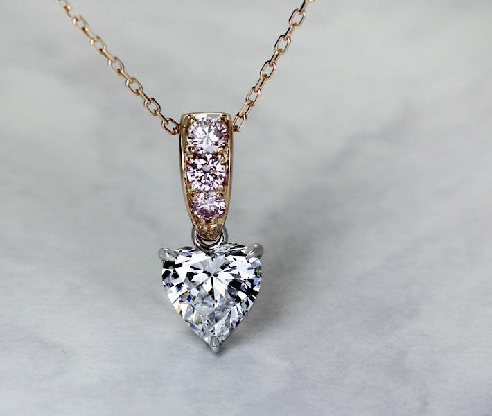【HANDMADE】 ダイヤモンド/ピンクダイヤモンド ネックレス D SI2 1.059ct/Total 0.202ct Pt950/K18PG※中央宝石研究所ソーティングシート付