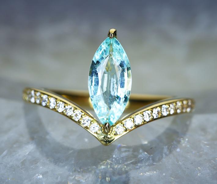【HANDMADE】パライバトルマリン リング 0.7ct ダイヤモンド 0.206ct K18