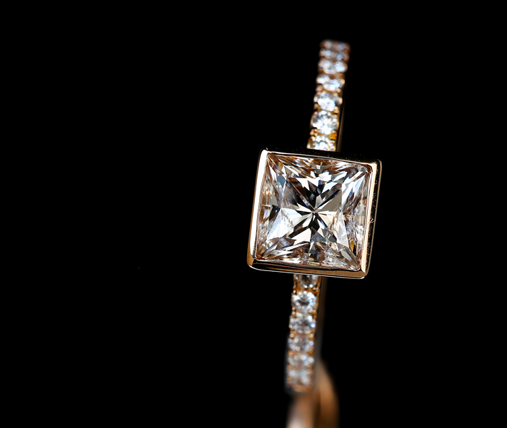 【HANDMADE】ピンクブラウンダイヤモンド リング 1.066ct ダイヤモンド 0.131ct K18PG