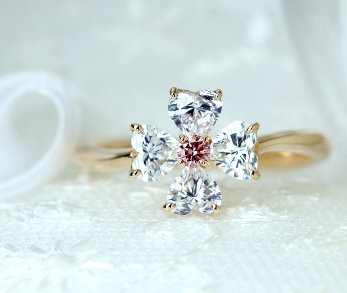 【HANDMADE】アーガイルピンクダイヤモンド 0.058ct FANCY INTENSE PINK/ダイヤモンド リング K18PG ※中央宝石研究所ソーティングシート付