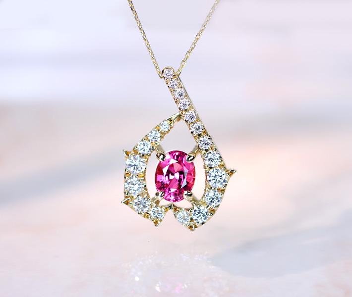 【HANDMADE】ビルマ産 ピンクスピネル 0.812ct ネックレス ダイヤモンド 0.43ct K18