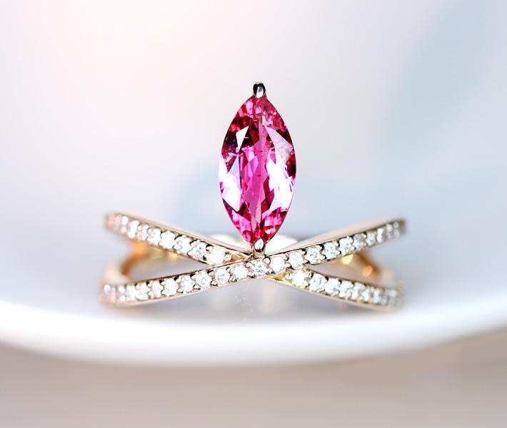 【HANDMADE】ホットピンクスピネル 1.093ct リング ダイヤモンド 0.359ct K18