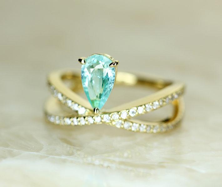 【HANDMADE】パライバトルマリン 0.639ct リング ダイヤモンド 0.359ct K18