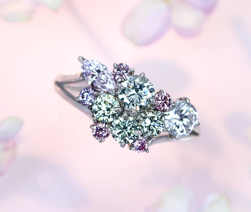 【HANDMADE】ピンクダイヤモンド FANCY INTENSE PINK 0.043ct/0.039ct/0.034ct/FANCY PINK 0.042ct リング グリーンダイヤモンド 0.151ct/0.151ct ブルーニッシュグレーダイヤモンド 0.136ct※ソーティングシート付