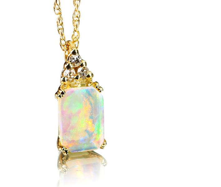 ウェロオパール ネックレス ダイヤモンド K14
