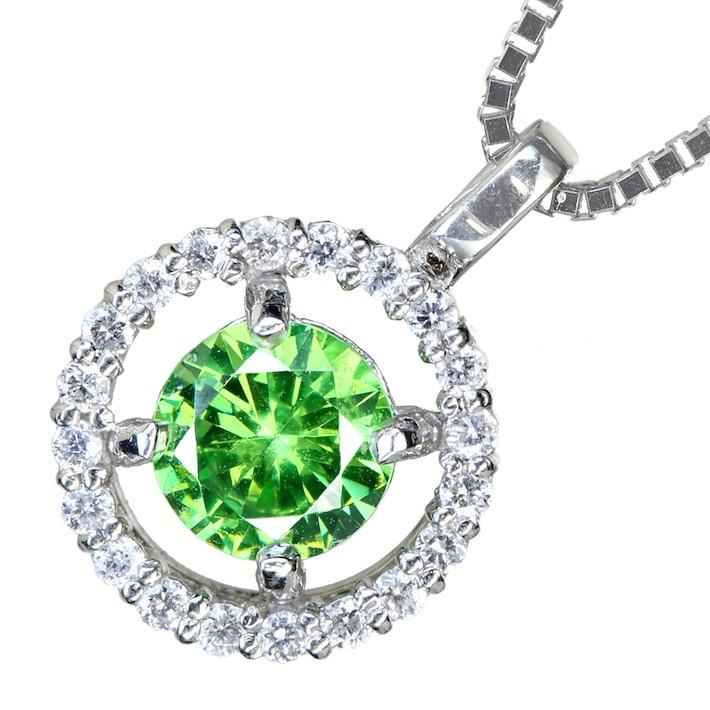 【販売代行】デマントイドガーネット 0.67ct ダイヤモンド 0.14ct ネックレス PT900