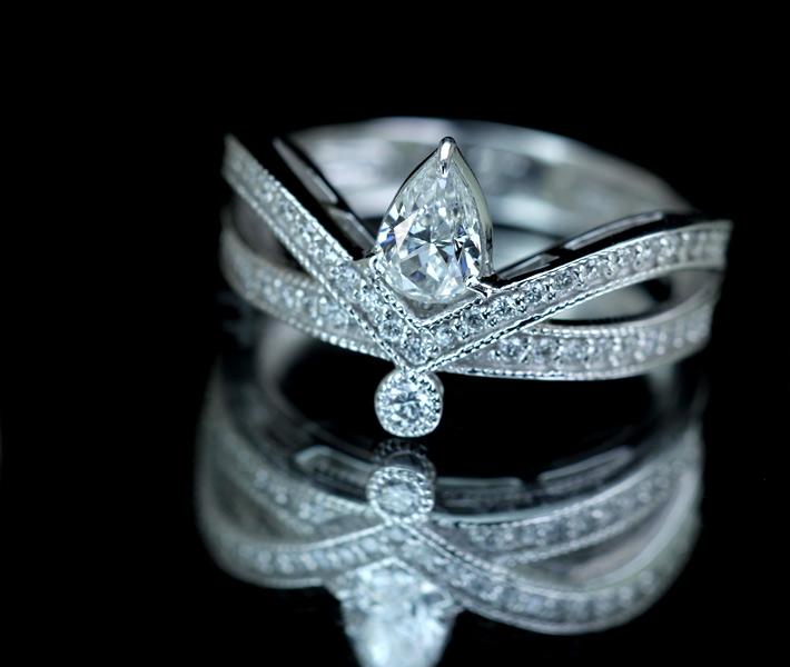 【HANDMADE】ダイヤモンド リング 0.509ct G SI2 ダイヤモンド 0.27ctPt900 ※中央宝石研究所ソーティングシート付 ティアラ
