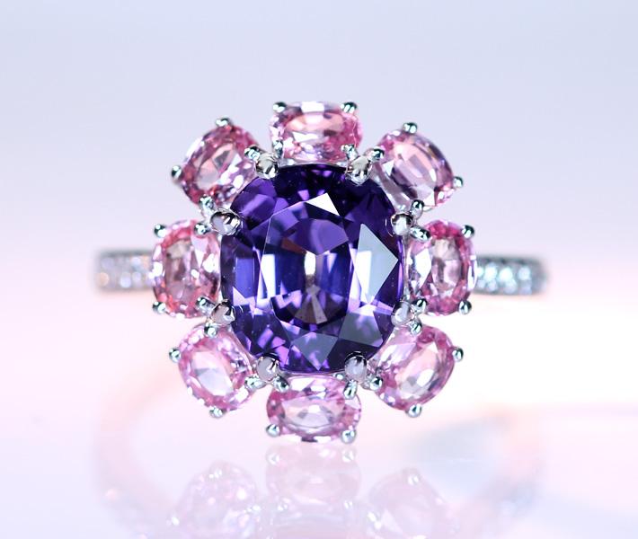 【HANDMADE】ヴァイオレットスピネル 3.35ct パパラチャサファイア 1.5ct ダイヤモンド 0.102ct PT950