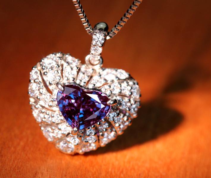 【HANDMADE】PT950 アレキサンドライト ネックレス 0.472ct ダイヤモンド