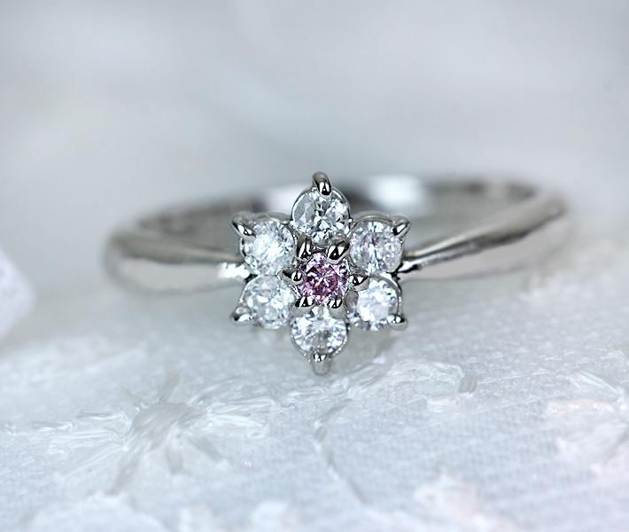 ピンクダイヤモンド 0.03ct リング ダイヤモンド 0.21ct PT900
