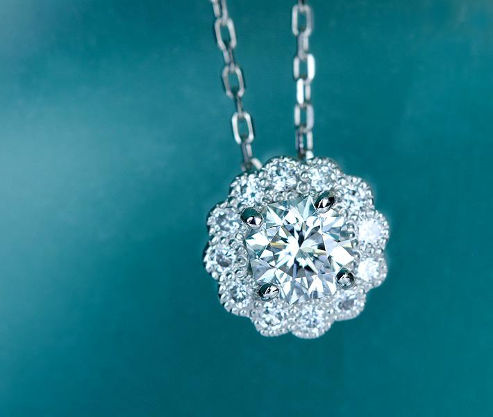 フランダースカット ダイヤモンド ネックレス 0.277ct G VS1 ダイヤモンド 0.1ct PT900/850 ※中央宝石研究所ソーティングシート付