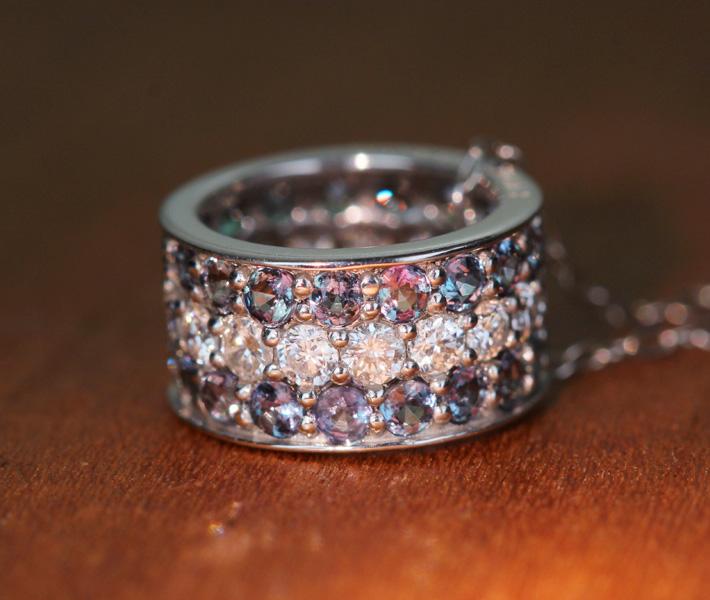アレキサンドライト ネックレス 0.72ct ダイヤモンド 0.32ct K18WG