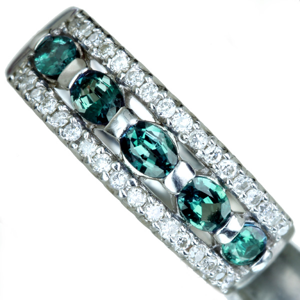 PT900 アレキサンドライト リング 0.62ct ダイヤモンド 0.24ct