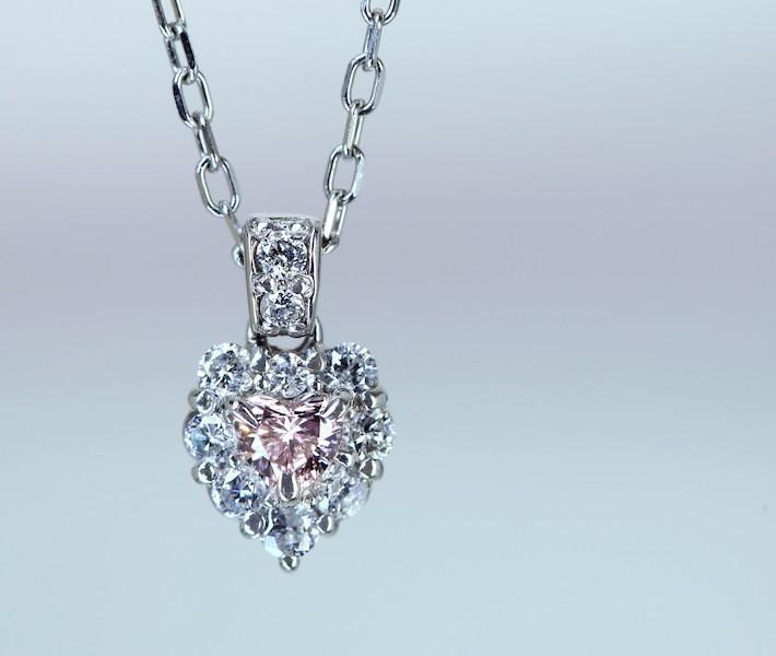 ピンクダイヤモンド 0.055ct ダイヤモンド 0.1ct ハートシェイプ ネックレス PT900/PT850※中央宝石研究所鑑別書付
