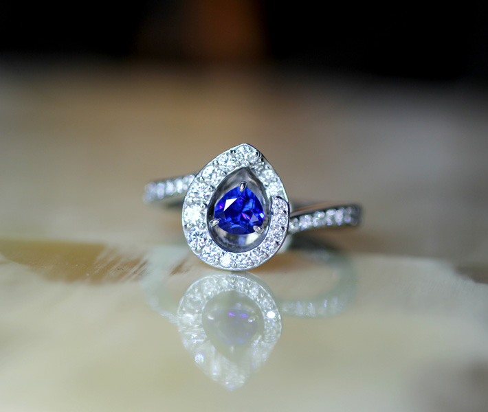【HANDMADE】アウイナイト 0.31ct リング ダイヤモンド 0.458ct PT950