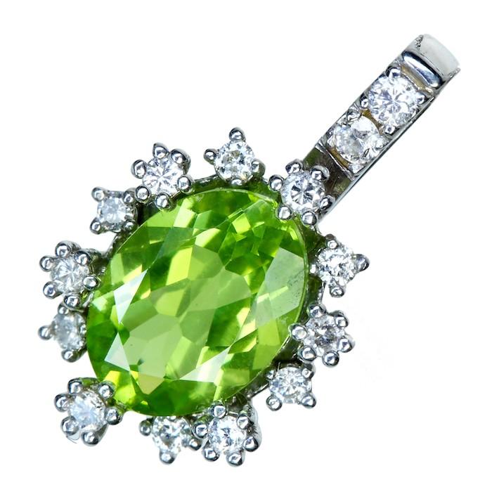 【販売代行】K18WG ペリドット 1.09ct ペンダントトップ ダイヤモンド 0.14ct【返品不可】