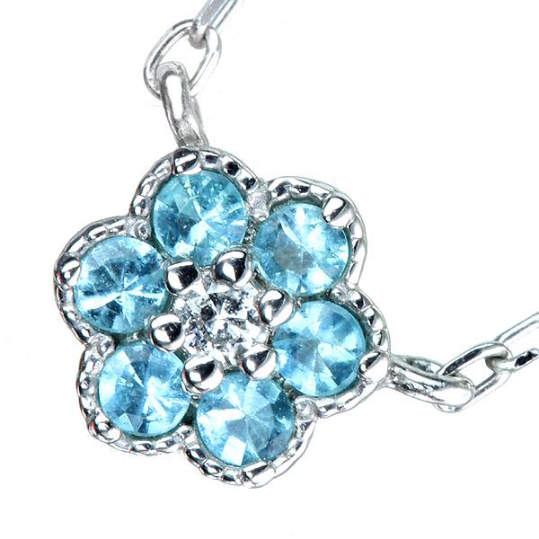 【販売代行】パライバトルマリン ネックレス 0.07ct ダイヤモンド 0.01 ct PT900/850【返品不可】