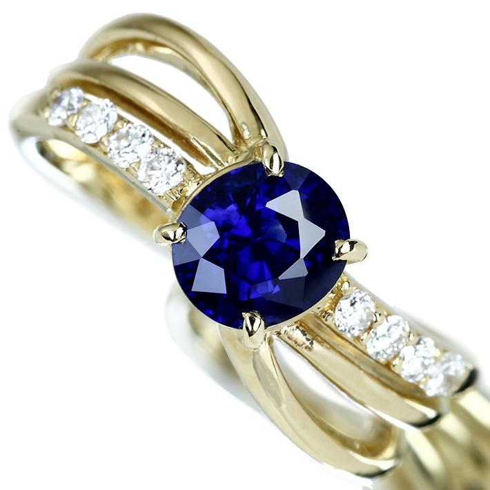 【販売代行】K18 ブルーサファイア 1.360ct リング ダイヤモンド 0.179ct 【返品不可】