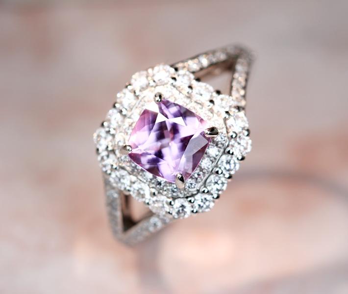 【新作!!】ピンクタンザナイト 1.23ct リング ダイヤモンド 0.668ct最高品質!