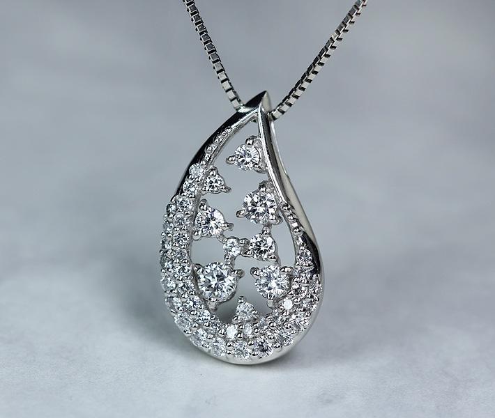 PT900/850 ダイヤモンド ネックレス 0.58ct