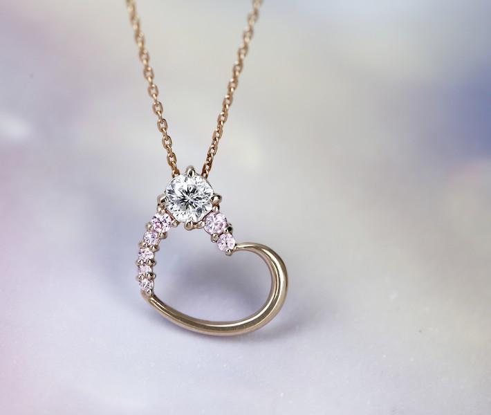 K18PG ダイヤモンド 0.3ct ネックレス ピンクダイヤモンド 0.2ct ハートモチーフ