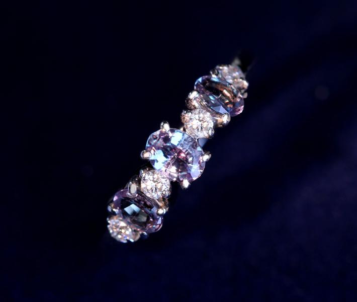 K18WG アレキサンドライト 0.57ctct リング ダイヤモンド 0.16ct