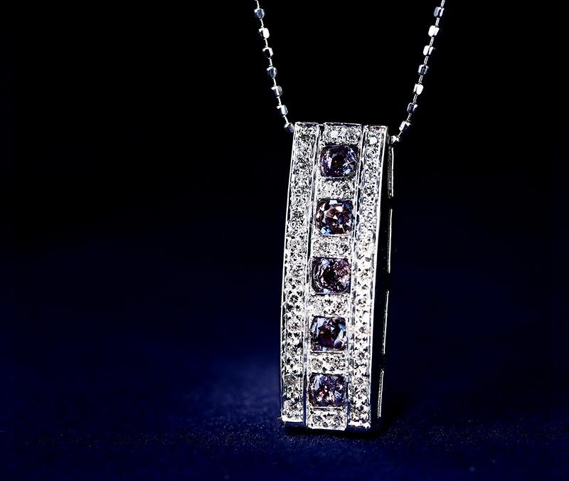 K18WG アレキサンドライト 0.43ct ネックレス ダイヤモンド 0.18ct