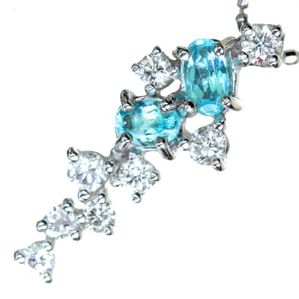 【販売代行】K18WG ブラジル産パライバトルマリン 0.20ct ネックレス ダイヤモンド 0.21 ct【返品不可】