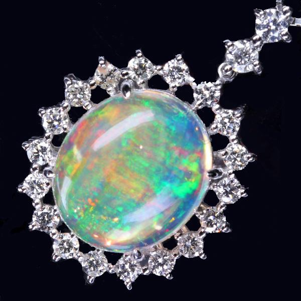 【販売代行】PT900 ウォーターオパール 6.07ct ダイヤモンド0.01ct ネックレス ※中央宝石研究所鑑別書付き【返品不可】