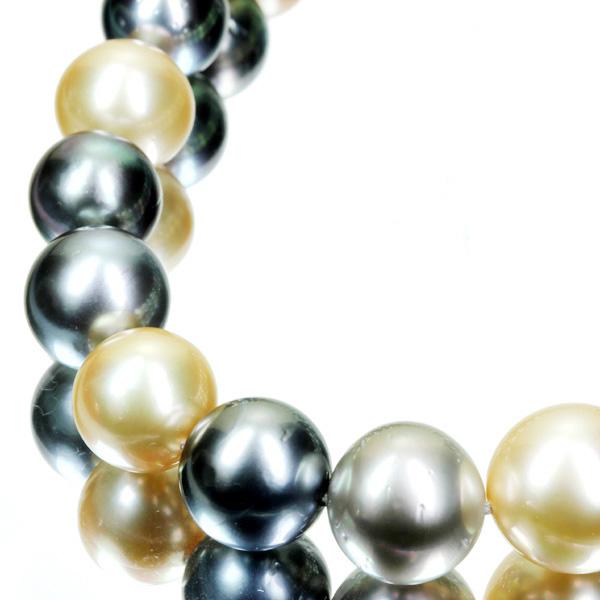 【販売代行】K14WG マルチカラー南洋真珠 10.4-14.6mm ネックレス 【返品不可】