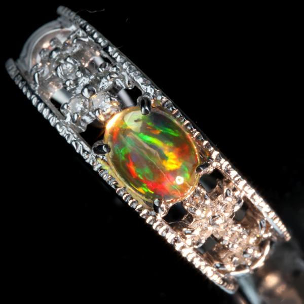 【販売代行】K18WG オパール 0.554ct リング ダイヤモンド 0.18ct【返品不可】
