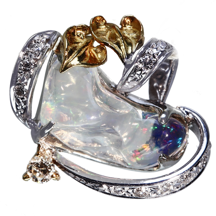 【販売代行】K18WG/YG ウォーターオパール 1.89ct ペンダントトップ ダイヤモンド0.15ct【返品不可】