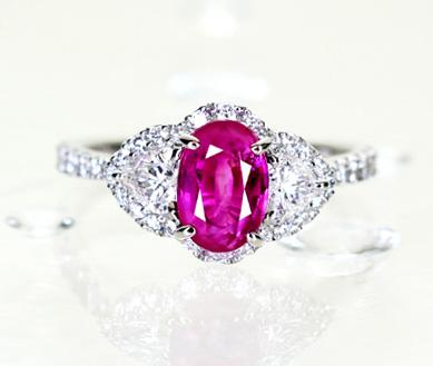 Pt950 ベトナム産非加熱ピンクサファイヤ1.75ct ダイヤモンド0.422ct リング