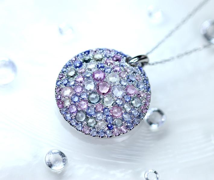 PT900/850 ローズカット カラーサファイア ネックレス 5.56ct ダイヤモンド